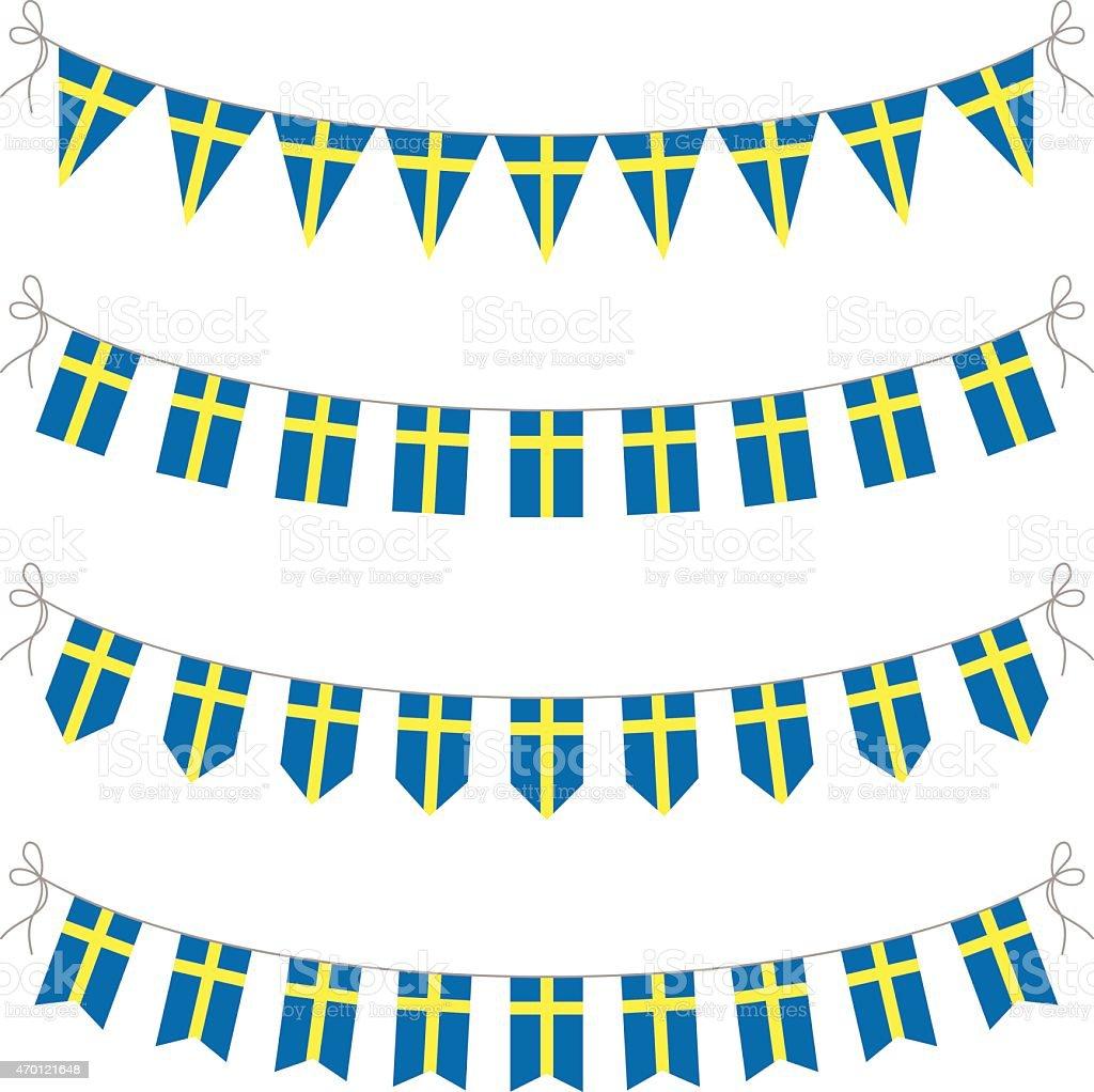 swedish bunting vector art illustration