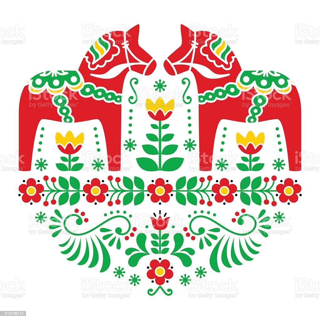 Swedish Dala or Daleclarian horse floral folk art pattern vector art illustration