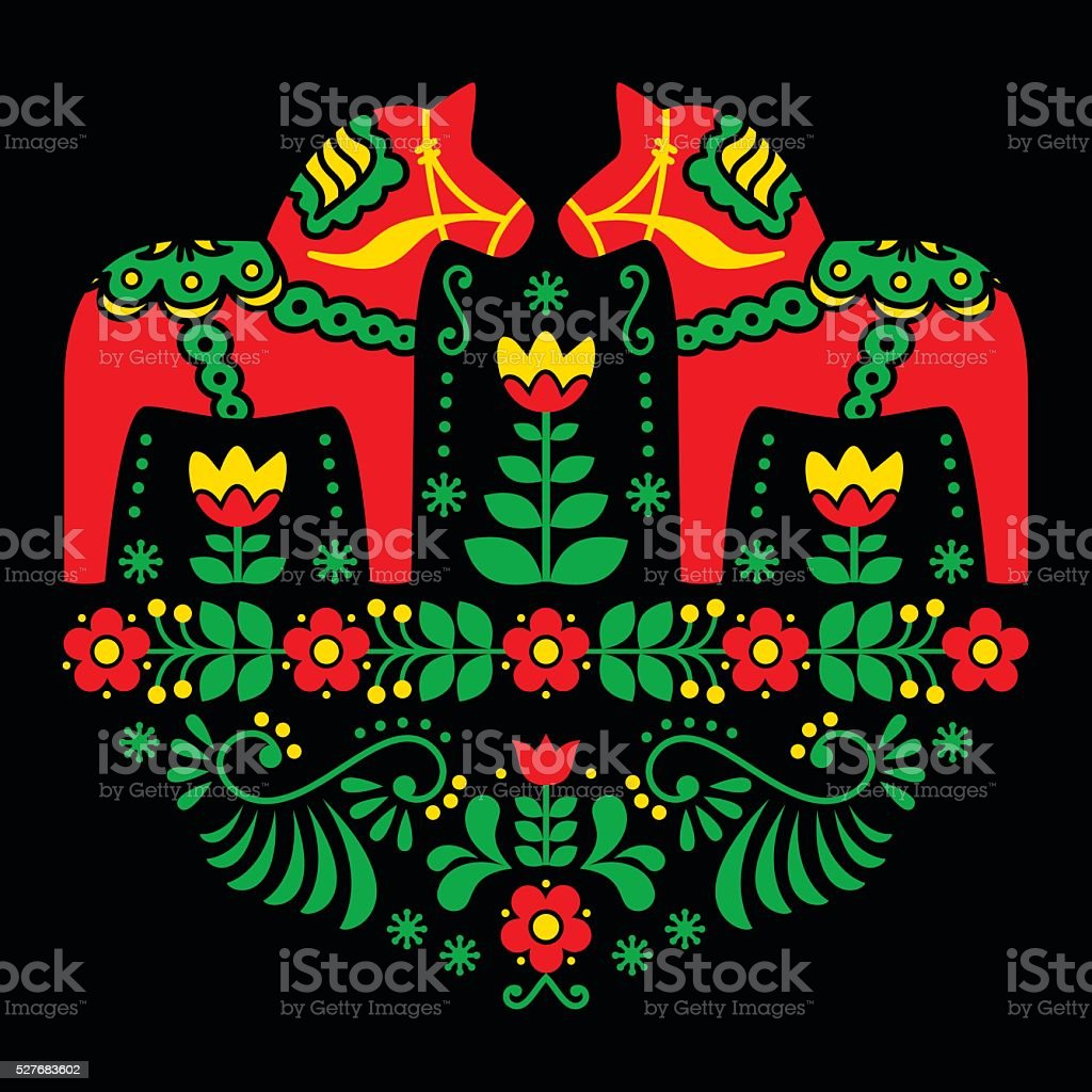 Swedish Dala or Daleclarian horse floral folk art pattern vector art illustration