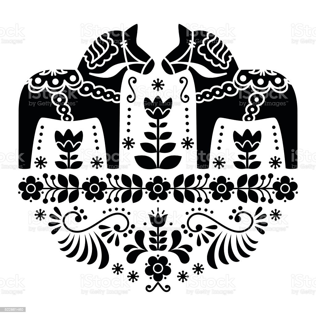 Swedish Dala or Daleclarian horse floral folk pattern vector art illustration