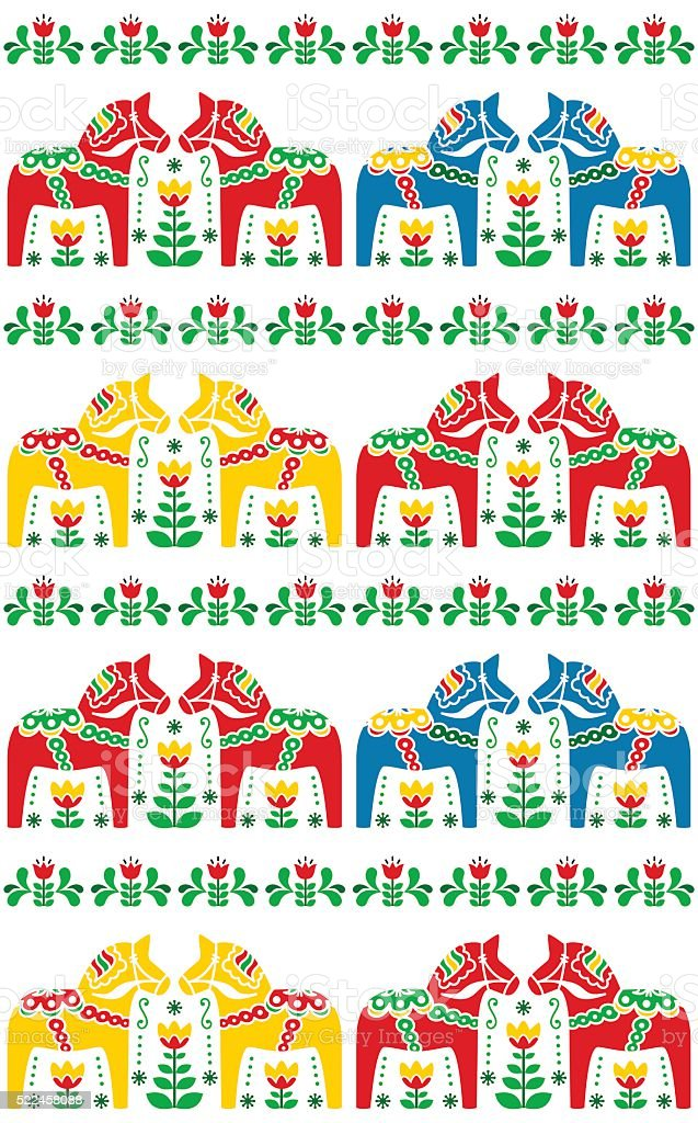 Swedish Dala or Daleclarian horse seamless folk art pattern vector art illustration