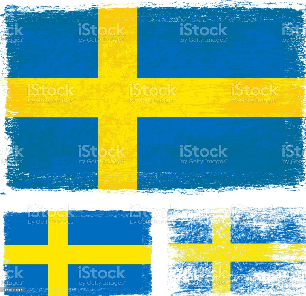 Swedish Flag done with brushstrokes royalty-free stock vector art