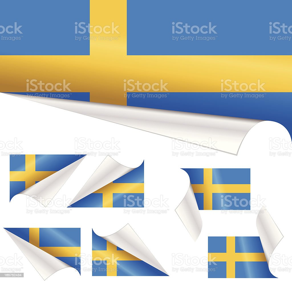 Swedish Flags behind Curled Paper royalty-free stock vector art