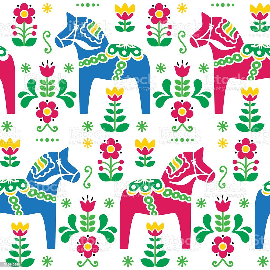 Swedish folk art Dala or Daleclarian horse seamless pattern vector art illustration