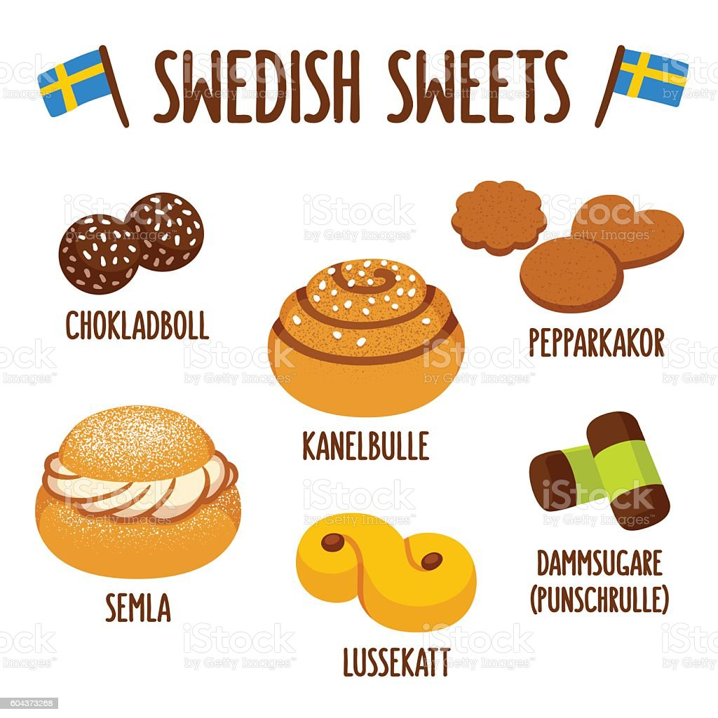Swedish sweets set vector art illustration