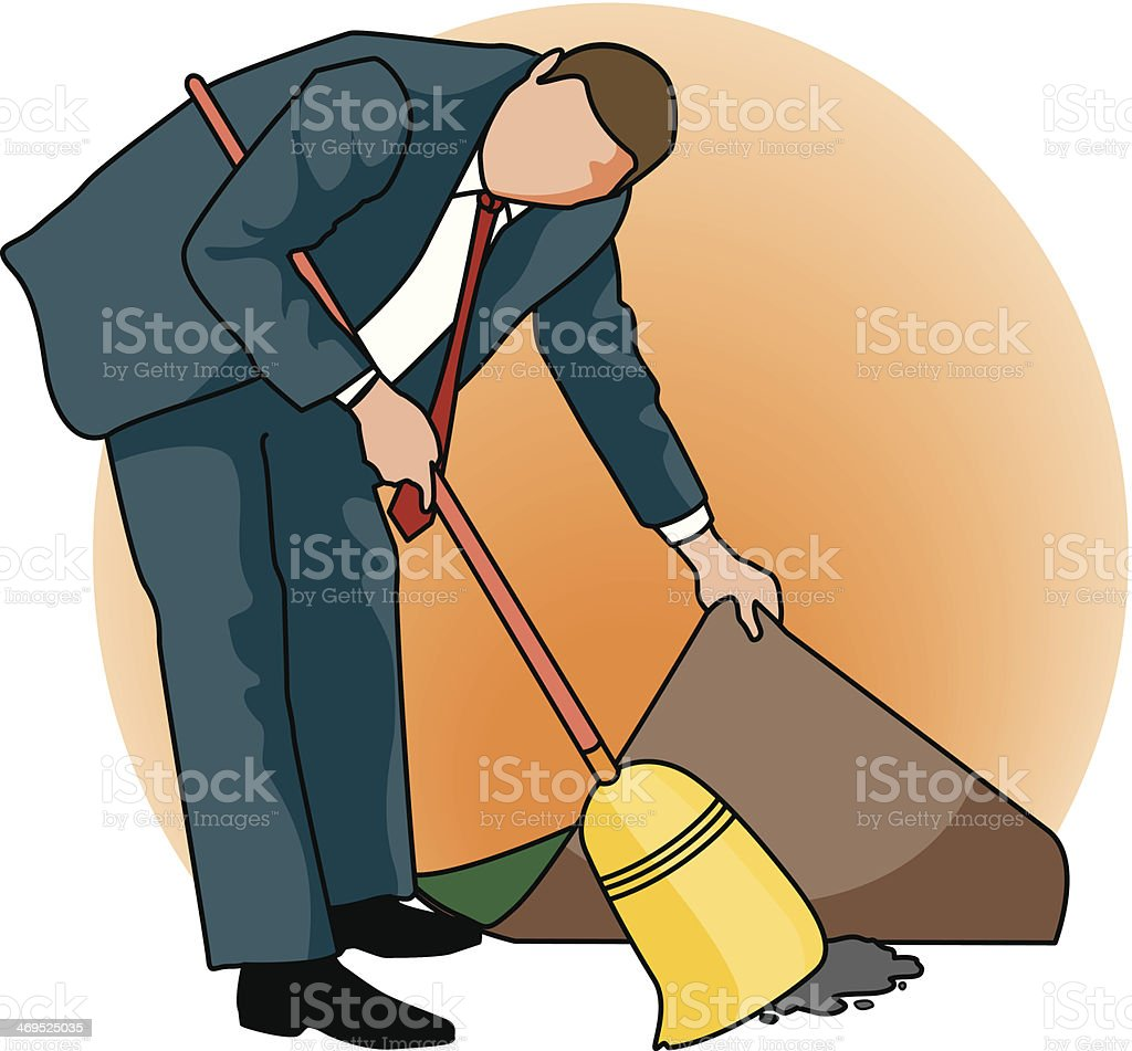 Sweeping Under Rug C Vector Art Illustration