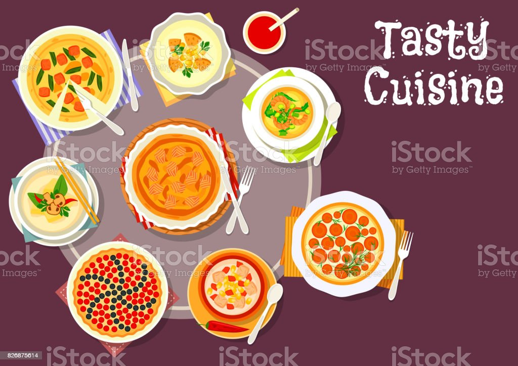 Sweet and savory pastry with cream soup icon vector art illustration