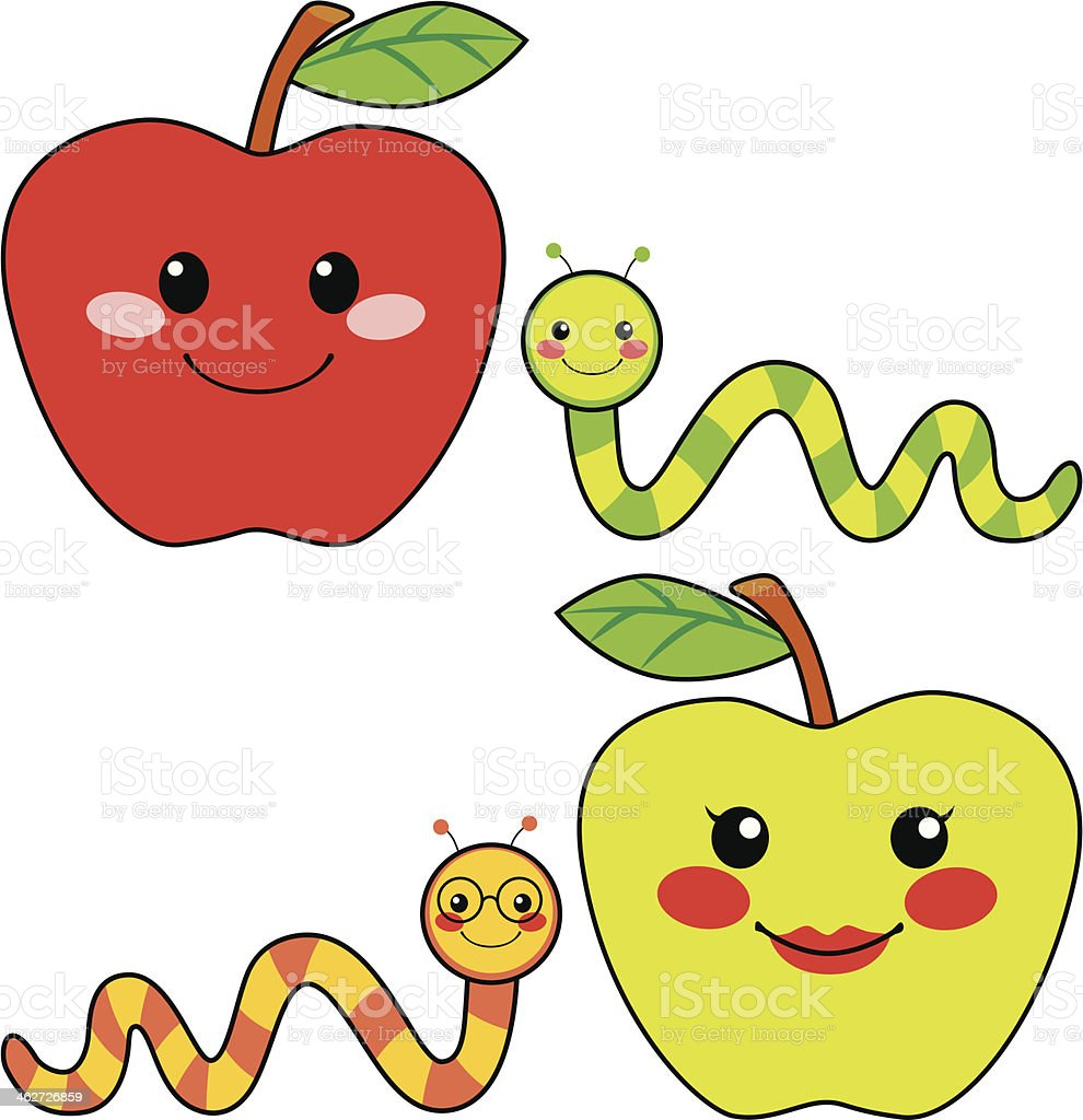 Sweet Apple Friends royalty-free stock vector art