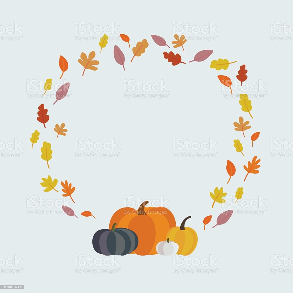 sweet autumn frame vector art illustration