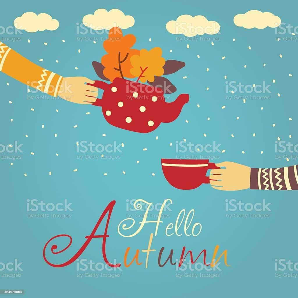 Sweet autumnal vector card - Hello Autumn vector art illustration
