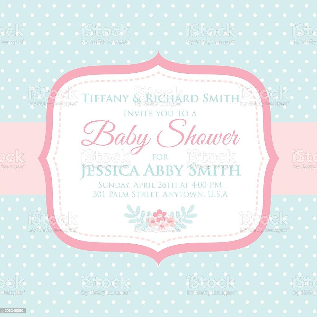 sweet baby shower invitation vector art illustration