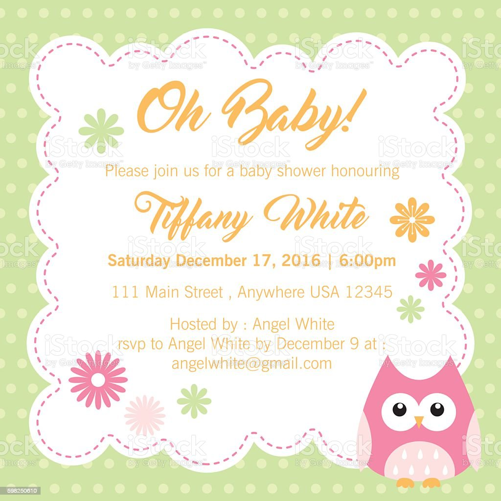 sweet baby shower invitation vector art illustration