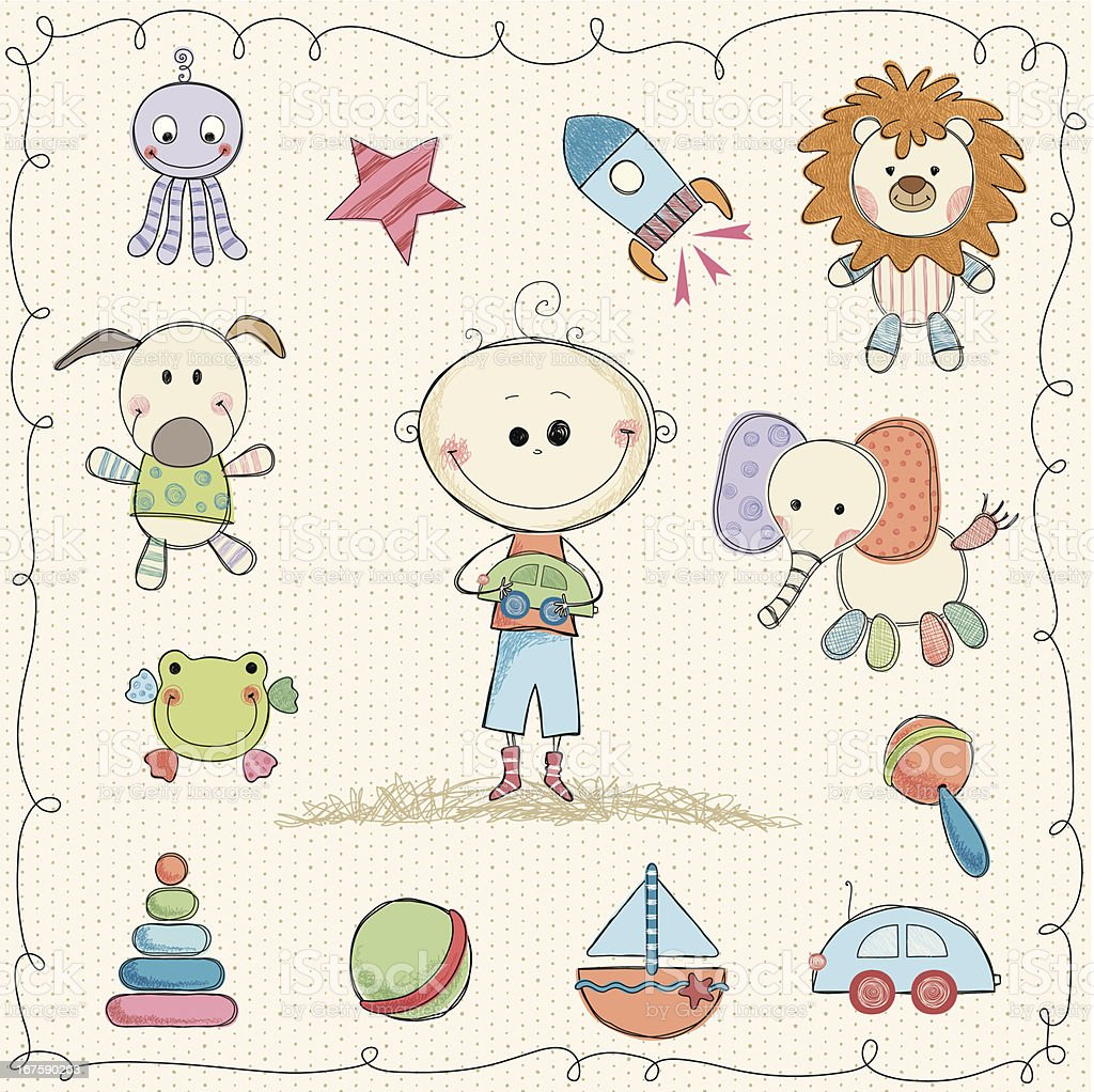 Sweet Baby Toys royalty-free stock vector art