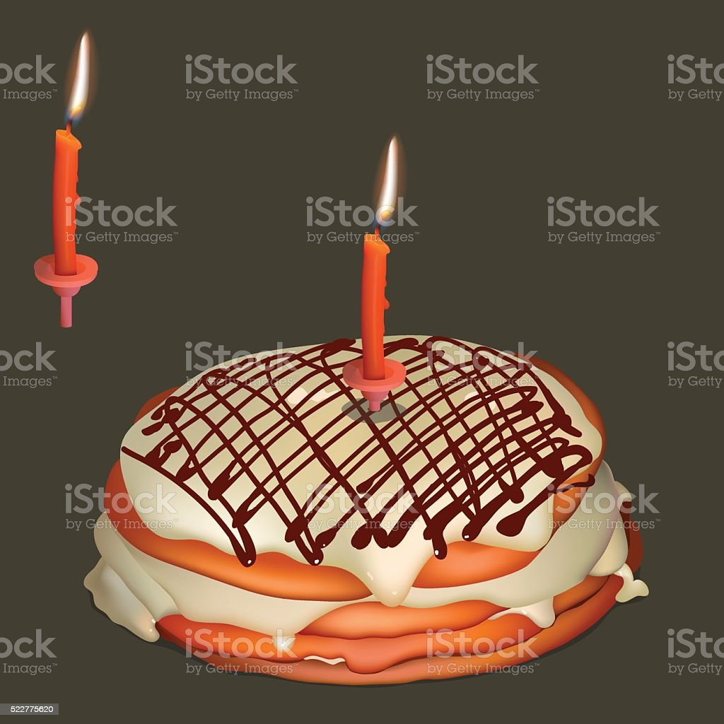 Sweet cake with butter cream and burning candle vector art illustration