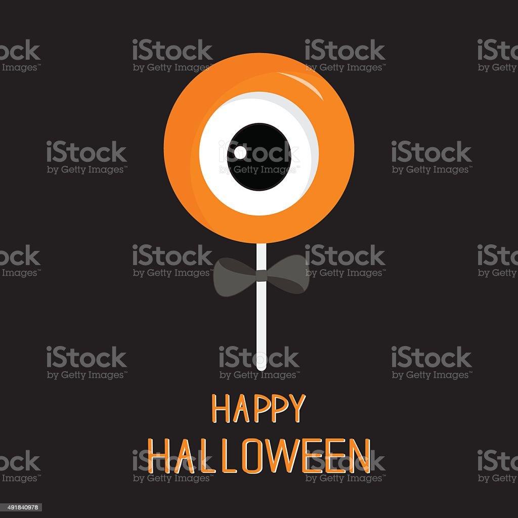 Sweet candy lollipop with eyeball. Black bow. Halloween card. Flat vector art illustration