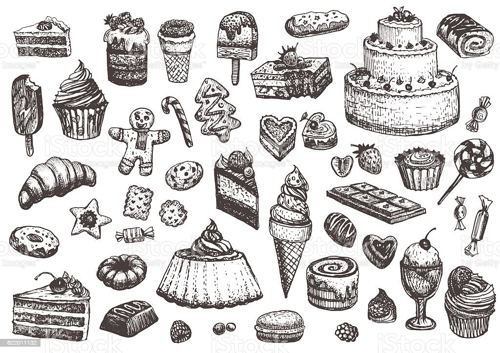 Sweet collection of drawings. vector art illustration