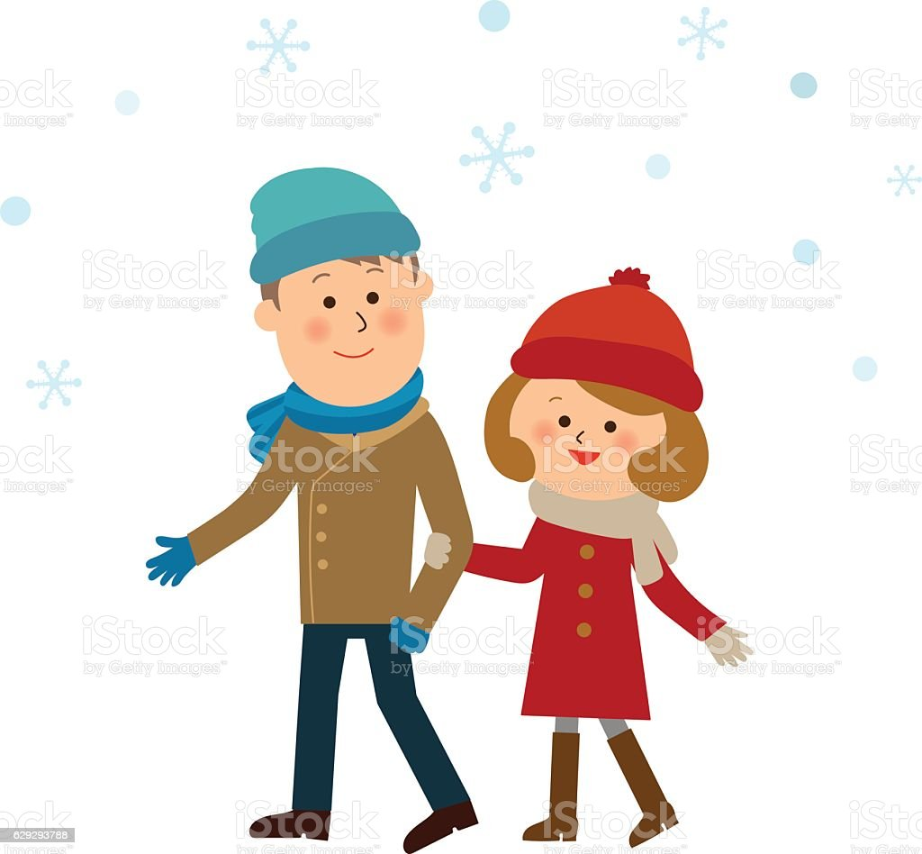 sweet couple in the snow vector art illustration