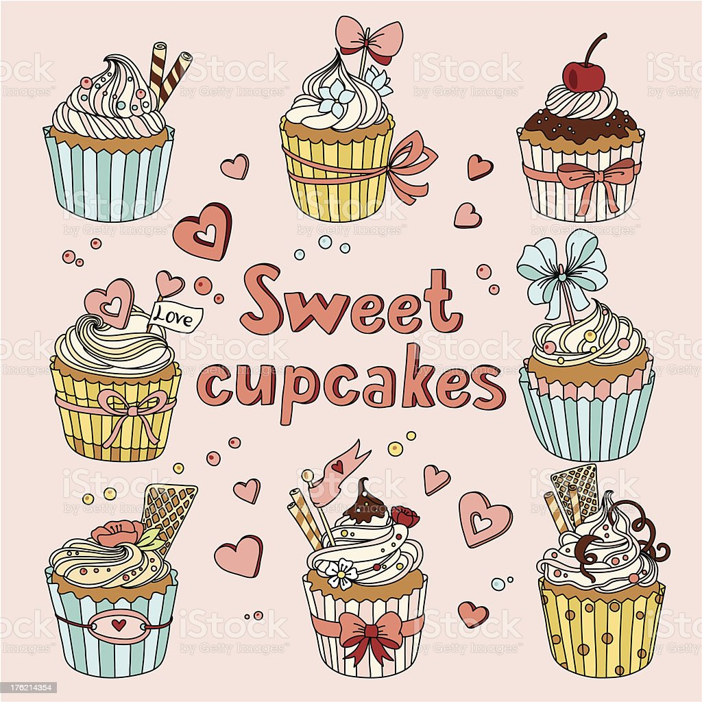 Sweet cupcakes royalty-free stock vector art