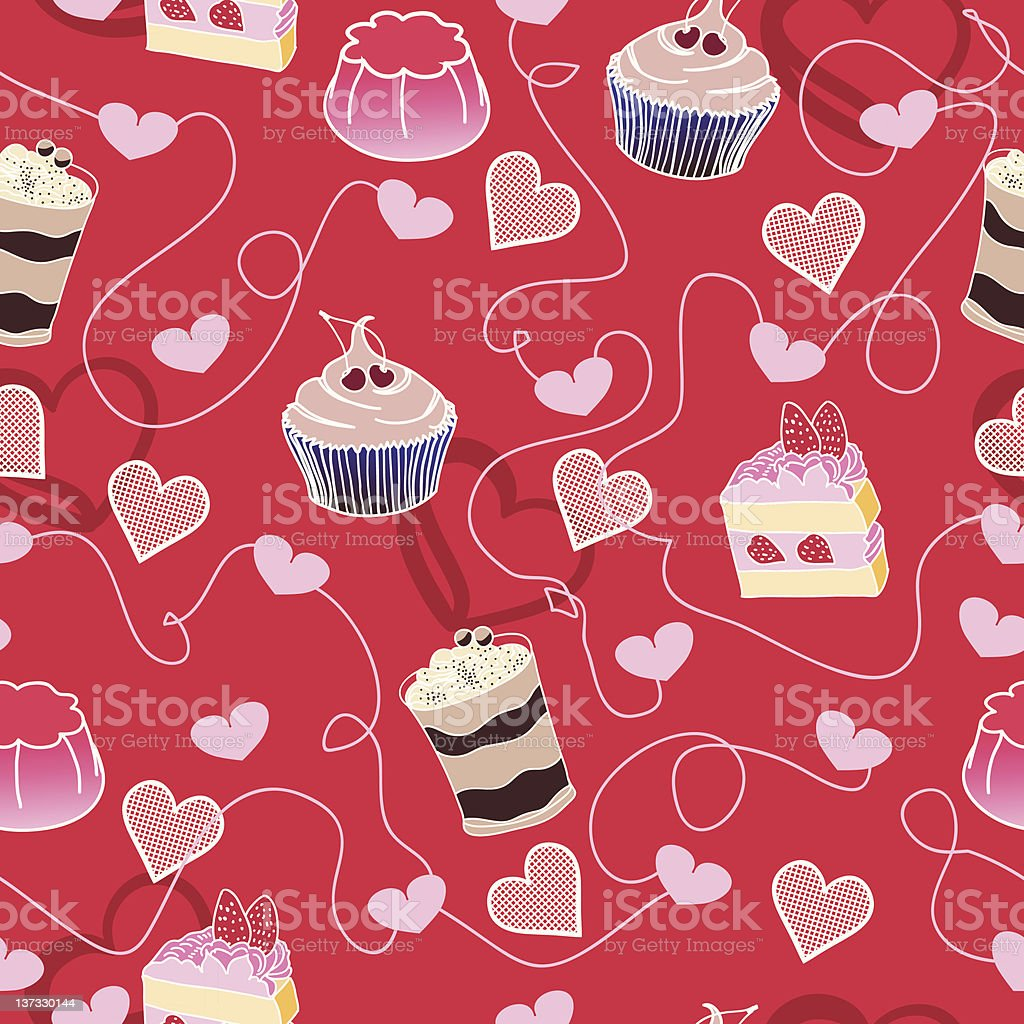 Sweet cute valentine desserts pattern royalty-free stock vector art