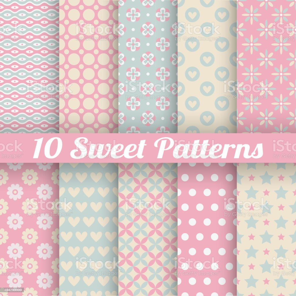 Sweet cute vector seamless patterns (tiling) vector art illustration