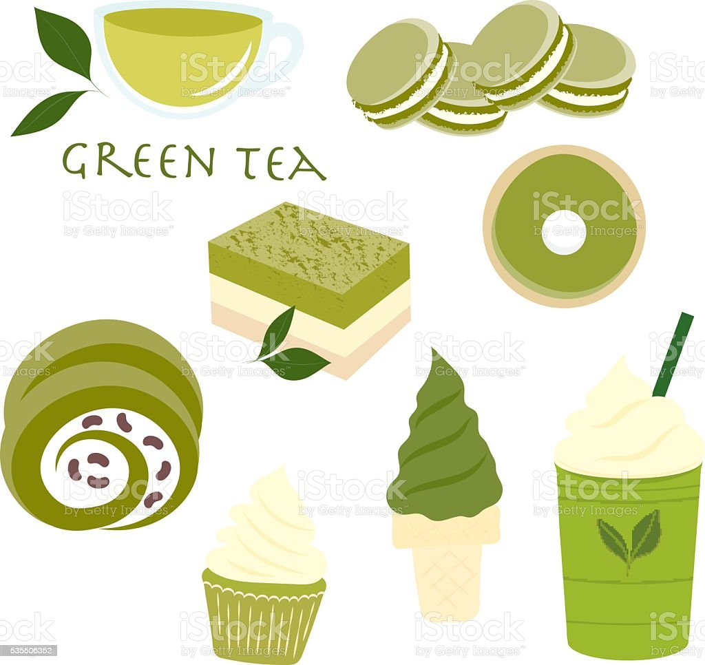 Sweet dessert green tea flavor set. vector art illustration