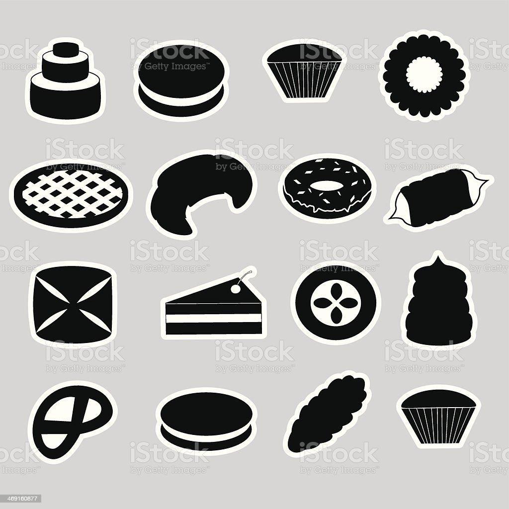 sweet desserts black stickers eps10 vector art illustration