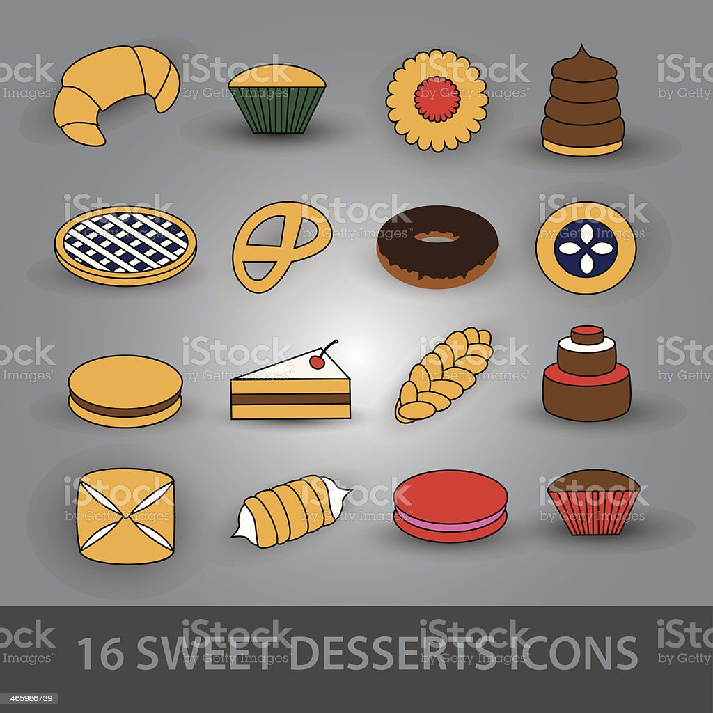 sweet desserts icons royalty-free stock vector art