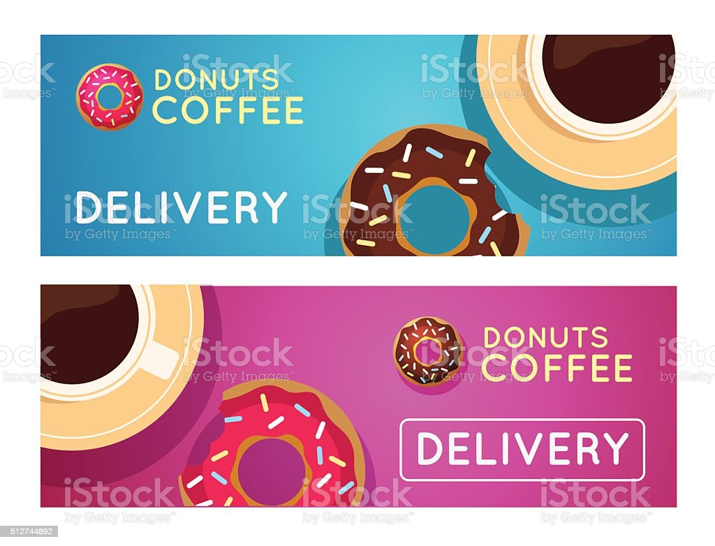 Sweet donut with coffee. Donut on table. vector art illustration