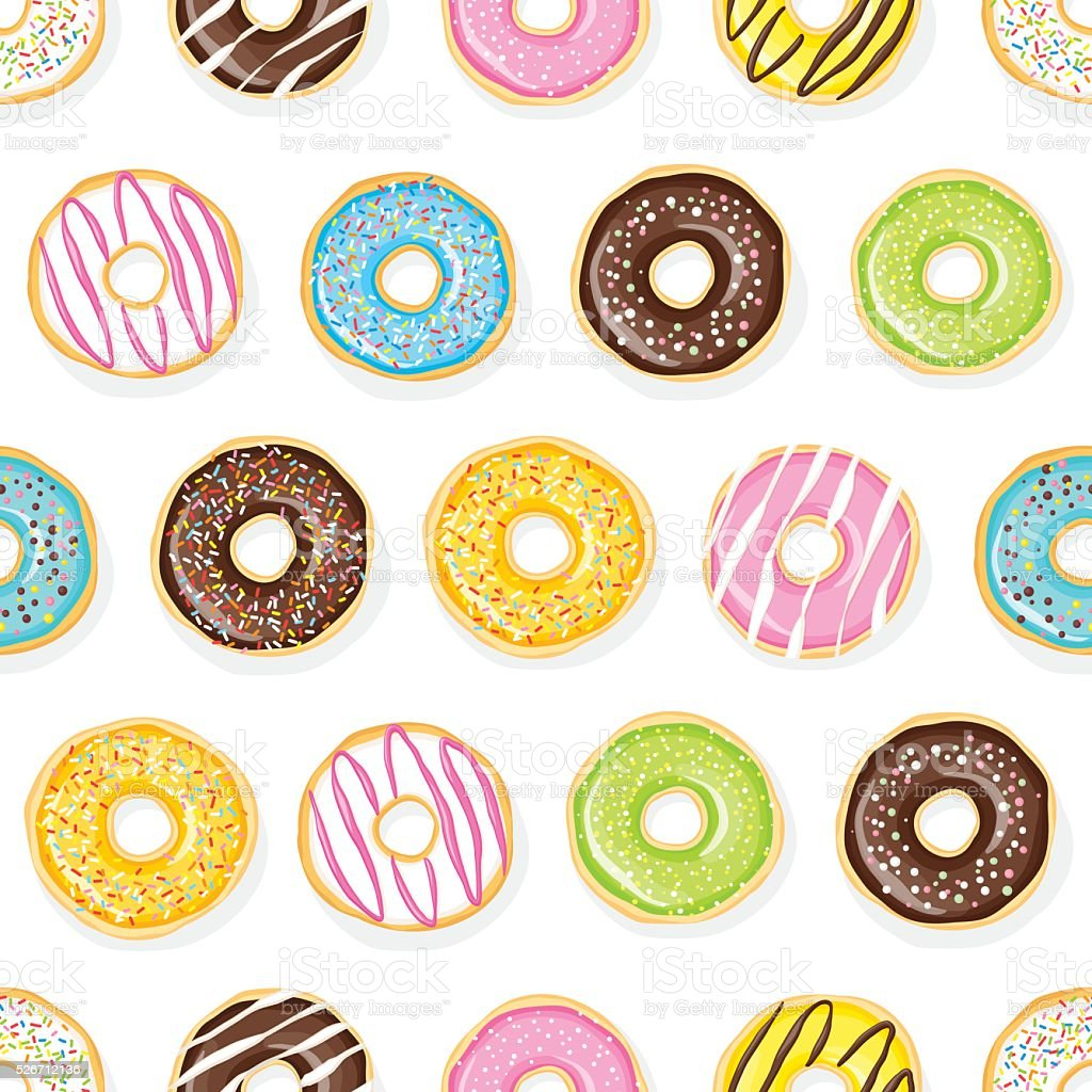 Sweet donuts on the white background. vector art illustration