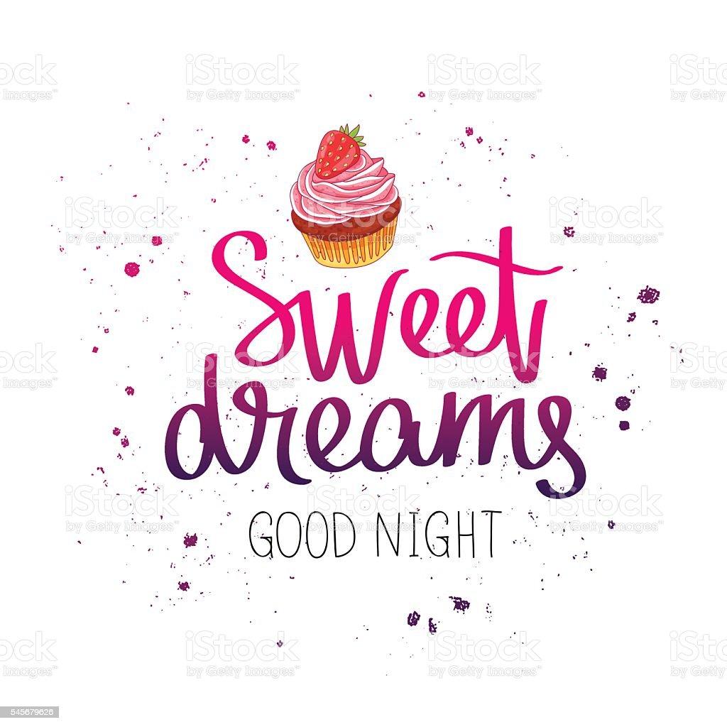 Sweet dreams. Good night vector art illustration