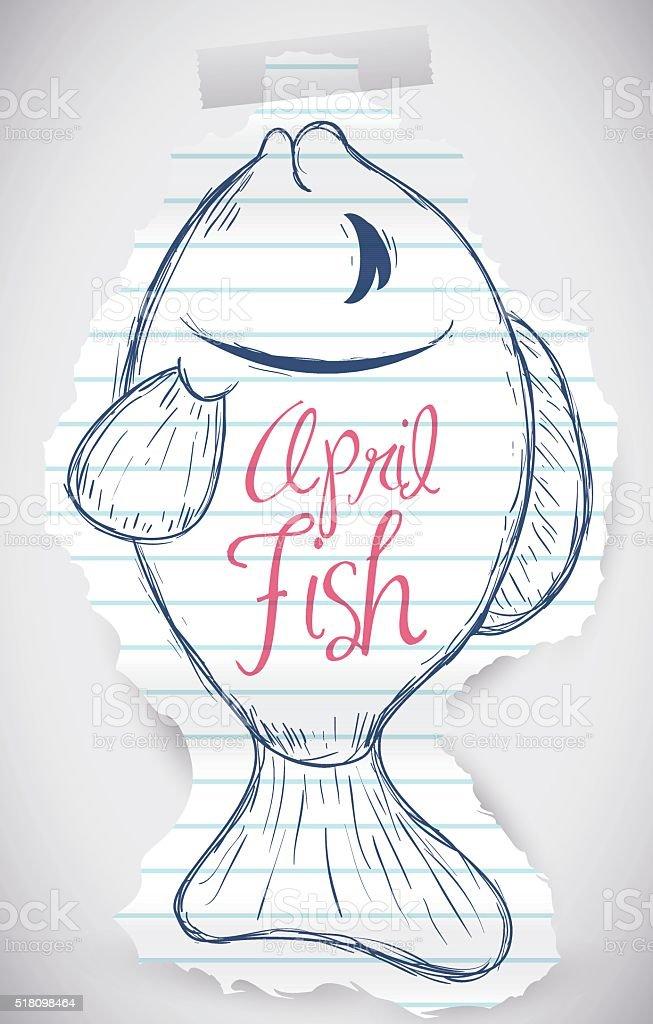 Sweet Fish Sketch for April Fools' Prank vector art illustration