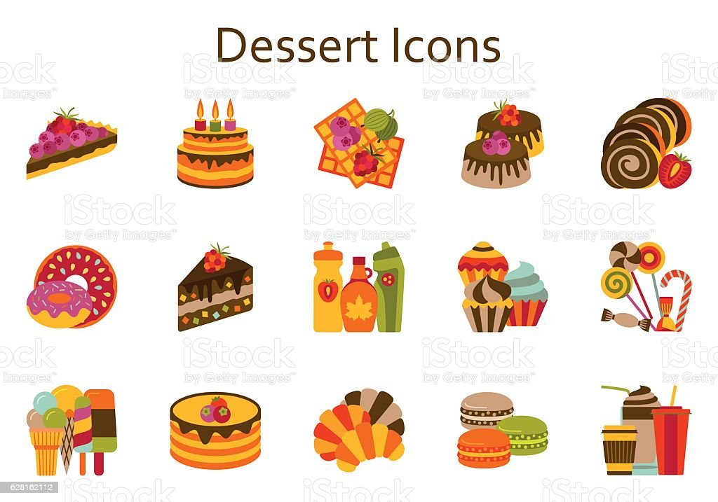 Sweet food flat icons set. Dessert collection. Vector illustration. vector art illustration
