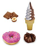 Sweet food for your design, donut, ice cream, marshmallow