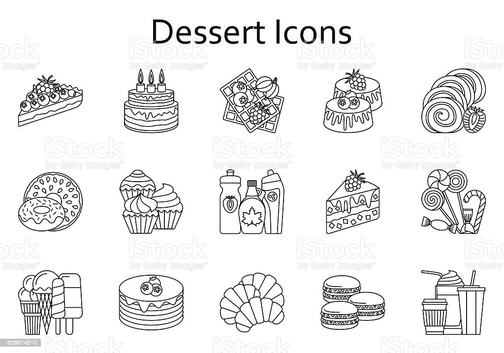 Sweet food line icons set. Dessert collection. Vector illustration. vector art illustration