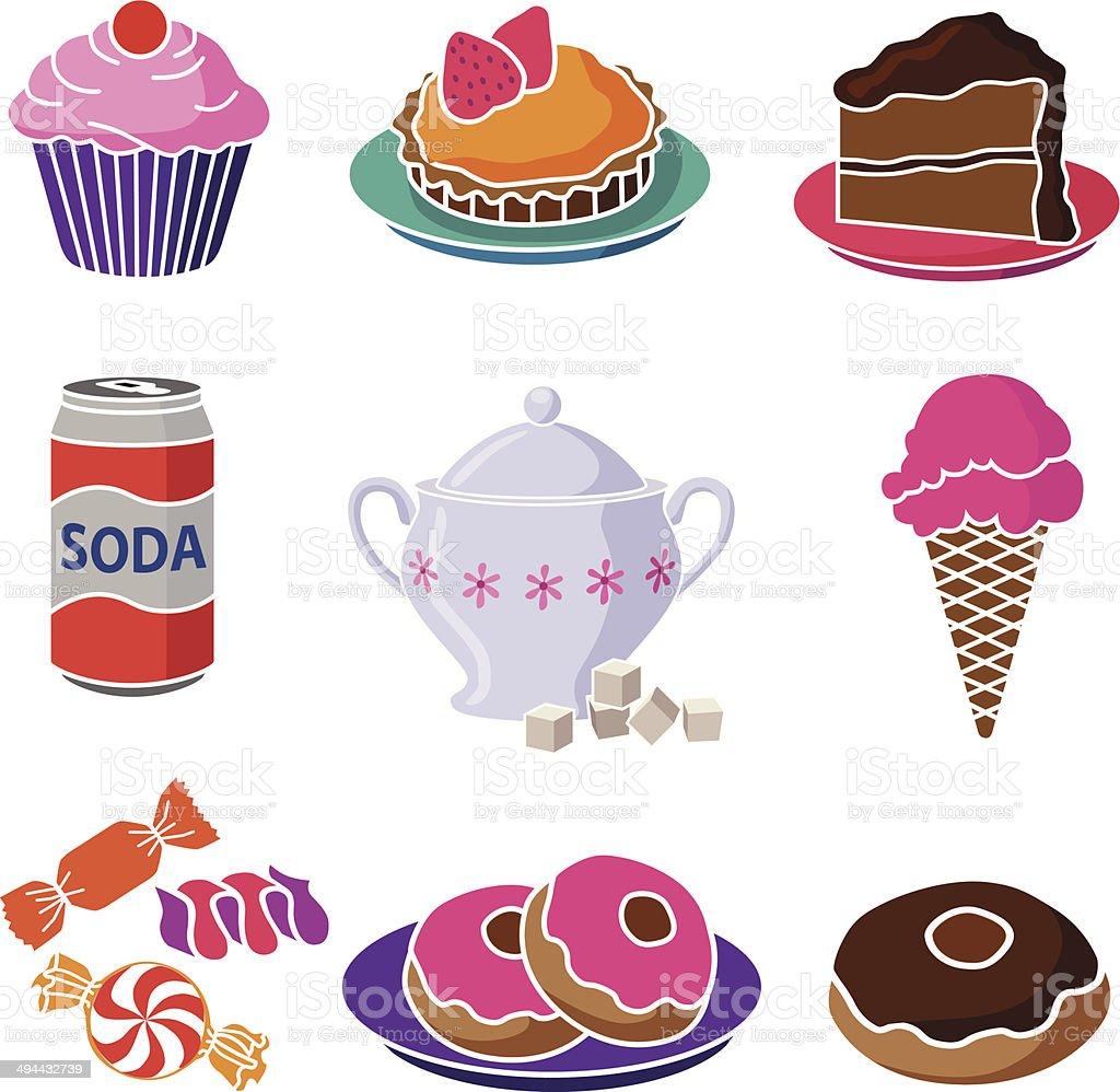 sweet foods vector art illustration