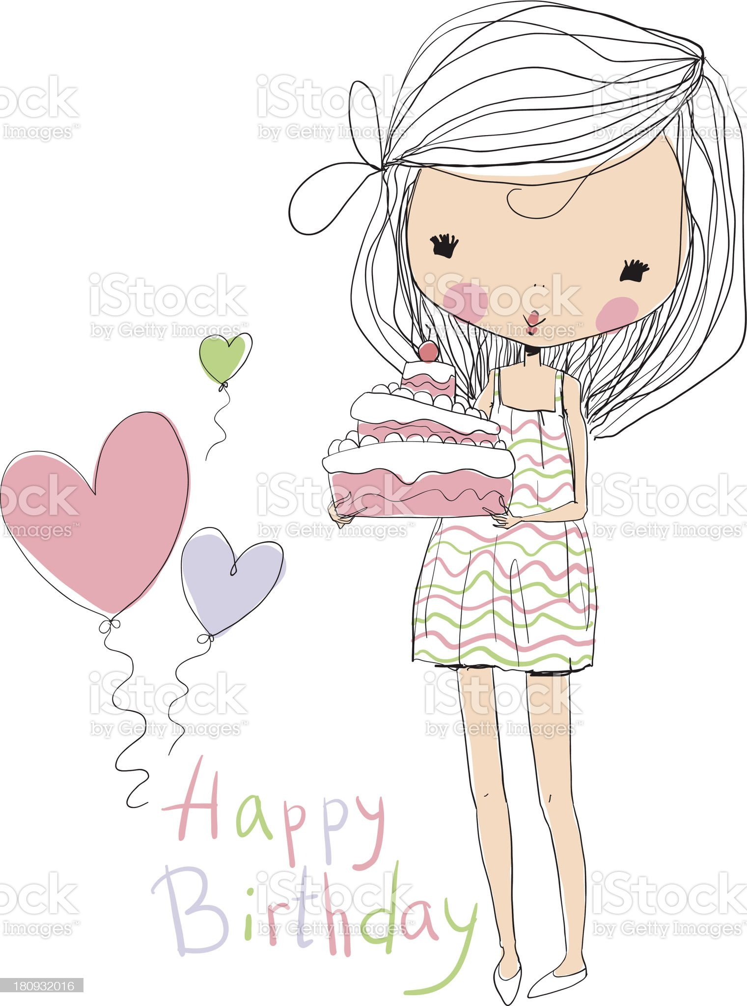 sweet girl with birthday cake royalty-free stock vector art