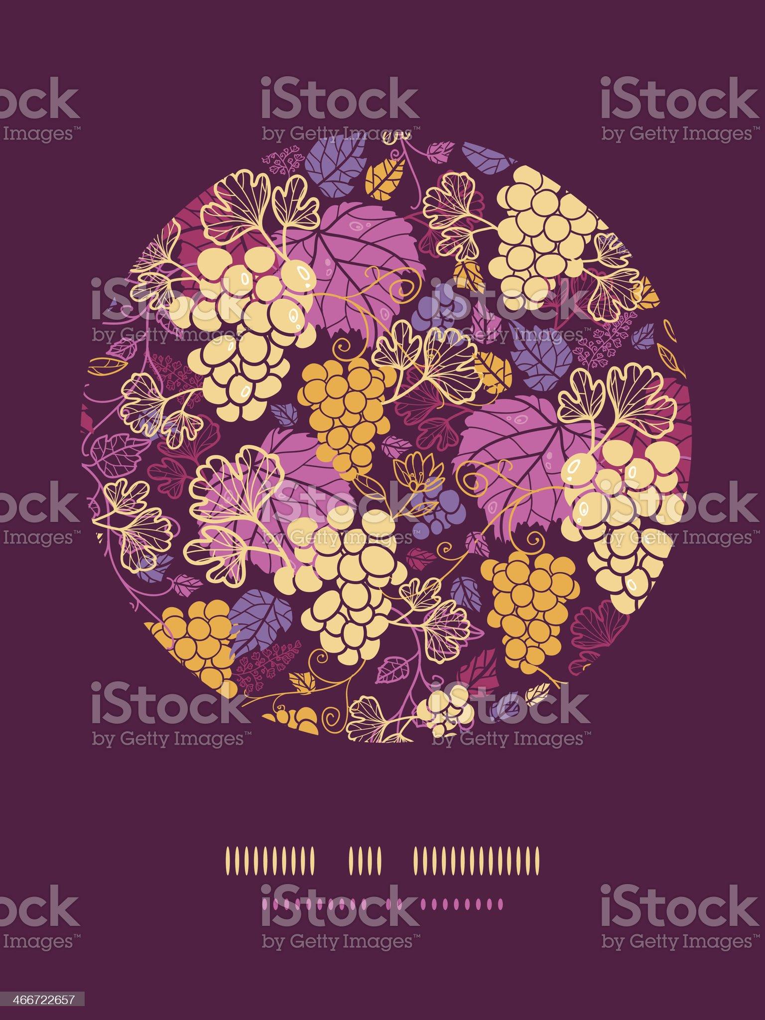 Sweet grape vines circle decor pattern background royalty-free stock vector art