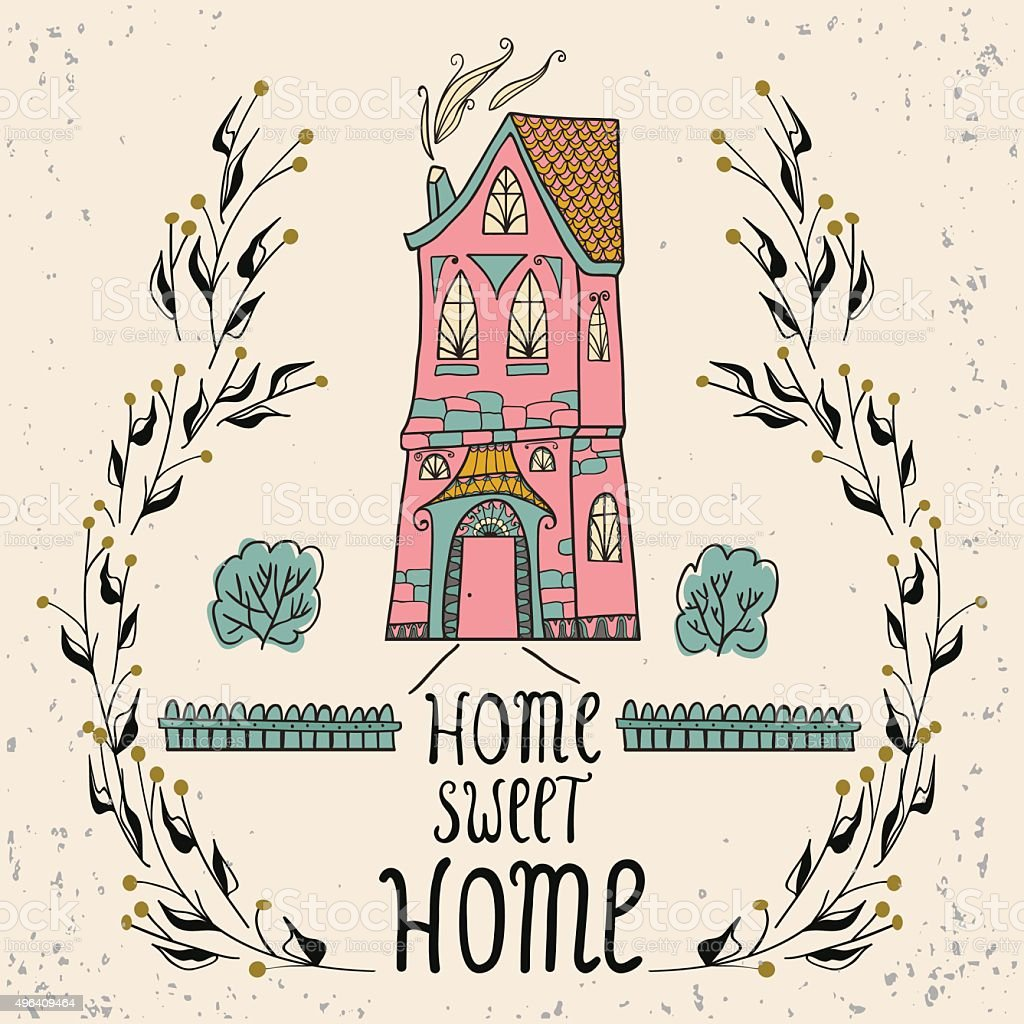 Sweet Home background with twigs vector art illustration