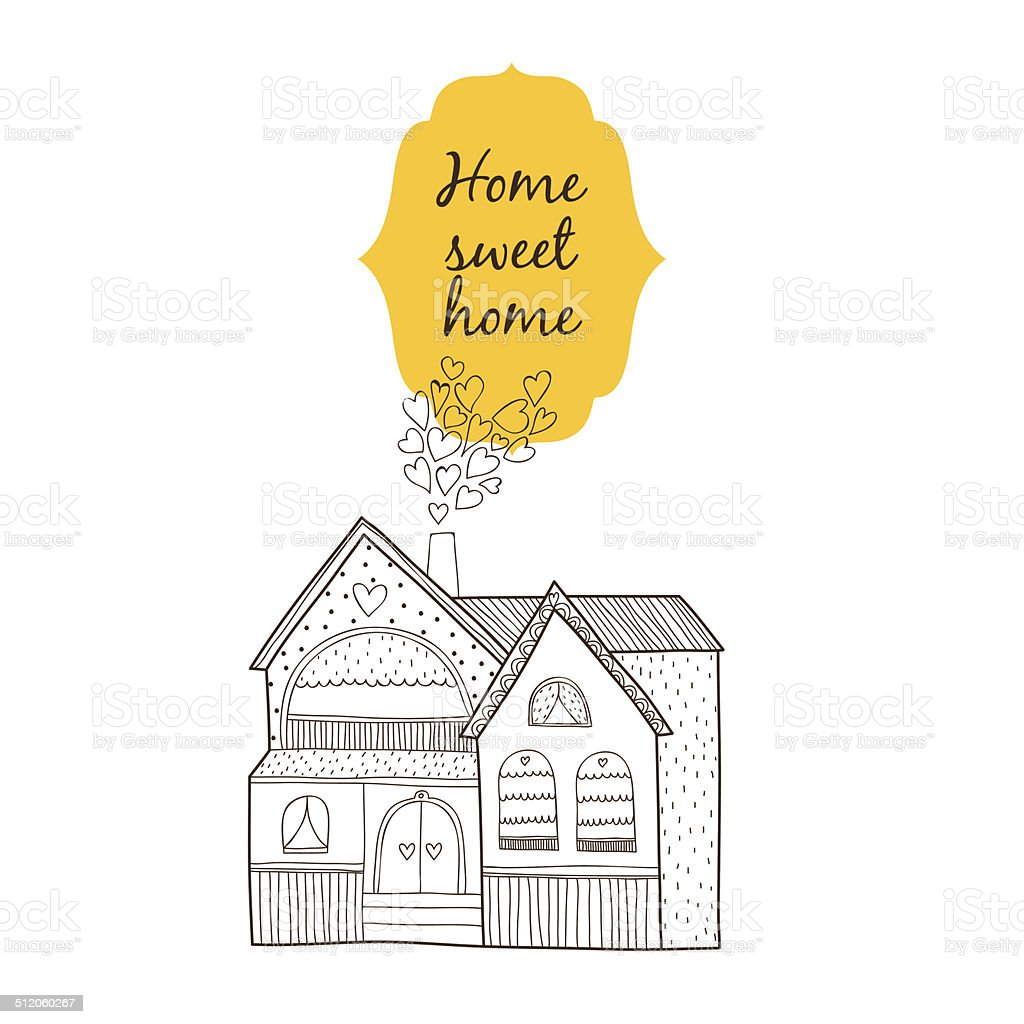 Sweet home card vector art illustration