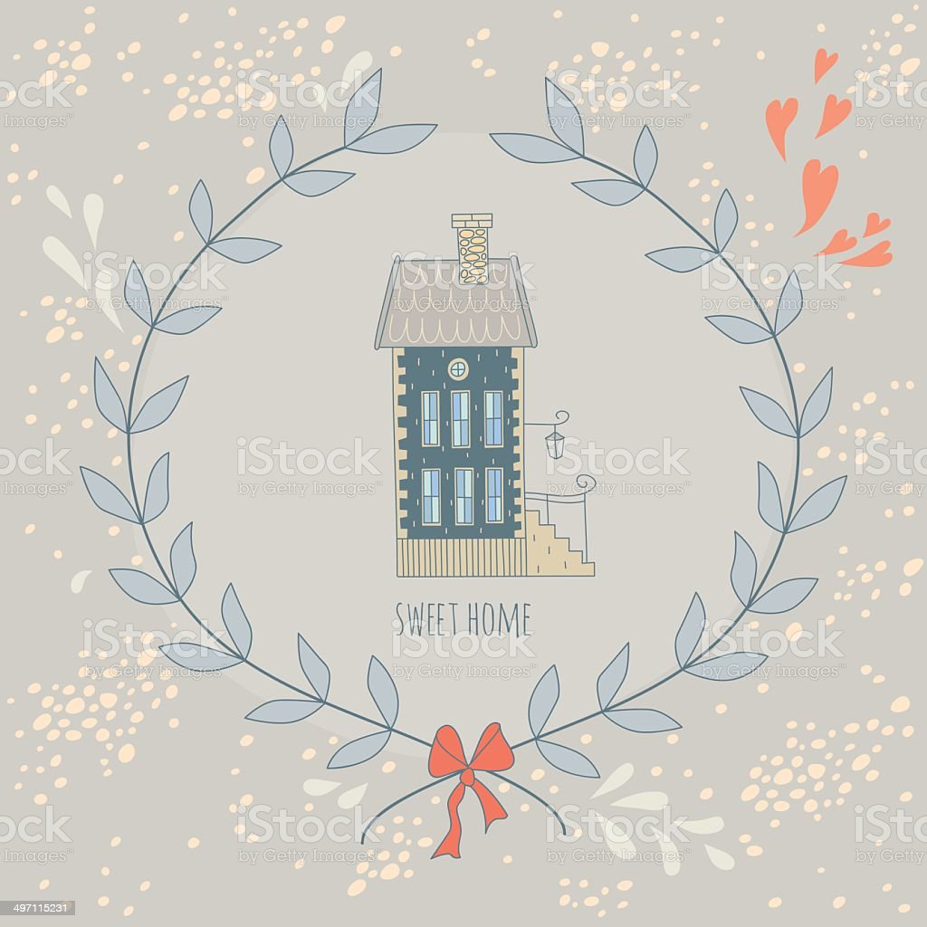 Sweet home illustration with a wreath and cute house vector art illustration