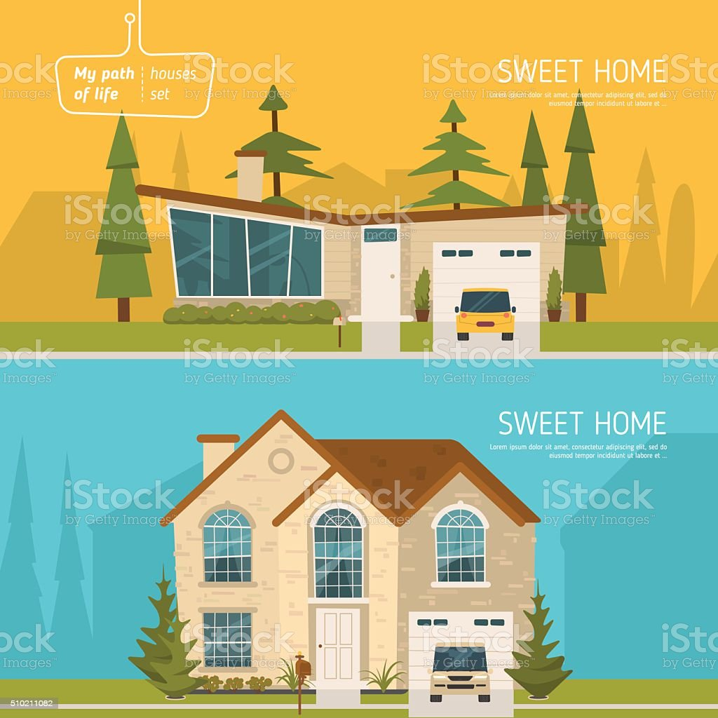 Sweet homes set vector art illustration
