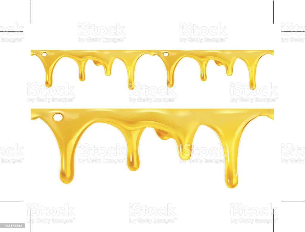 Sweet honey drips seamless vector art illustration