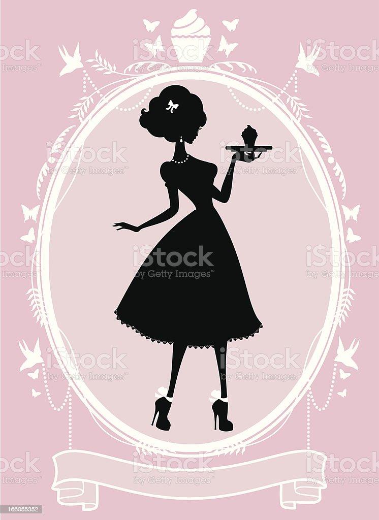 Sweet Lady Cupcake Frame royalty-free stock vector art