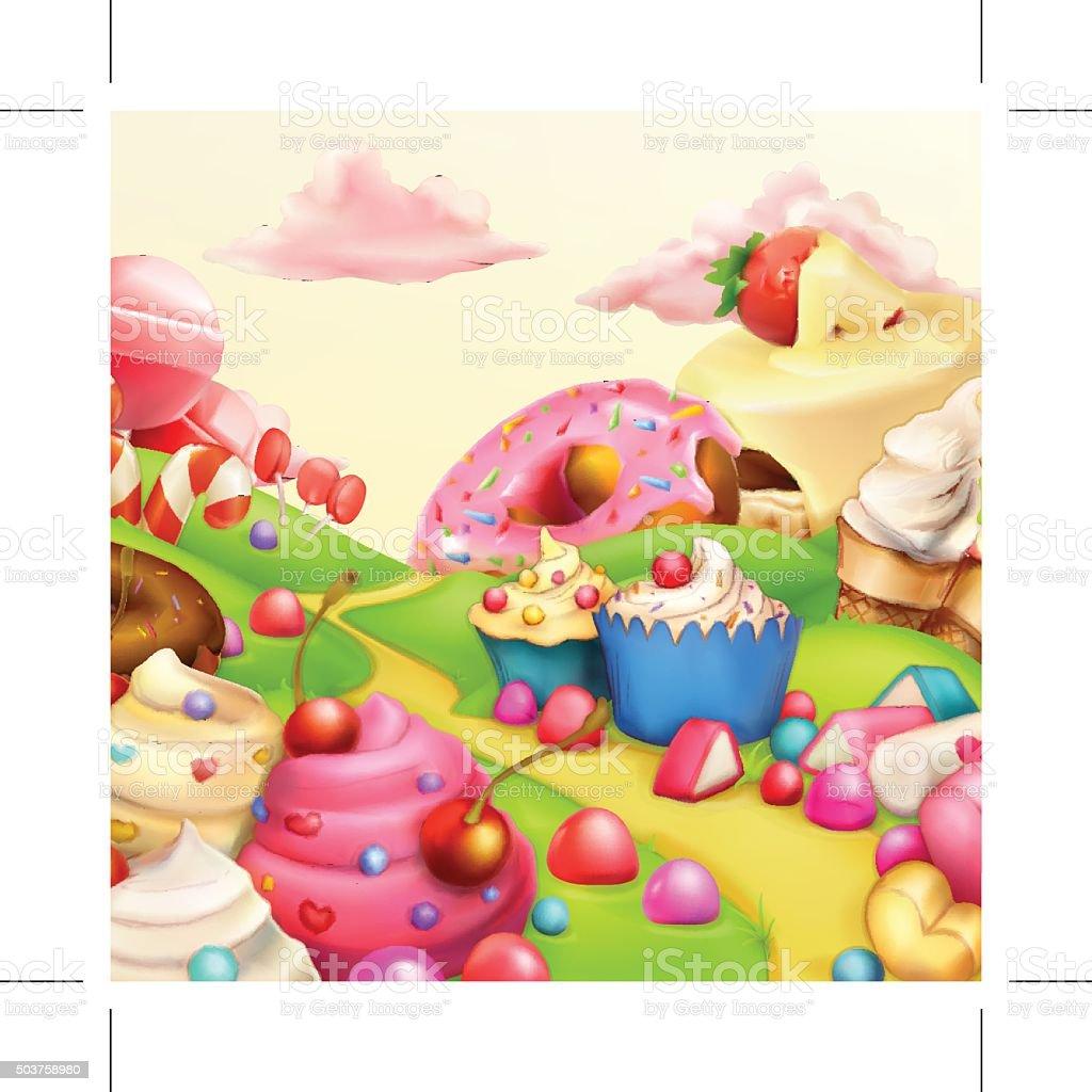 Sweet landscape vector background vector art illustration