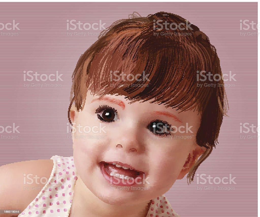 Sweet little baby vector portrait royalty-free stock vector art