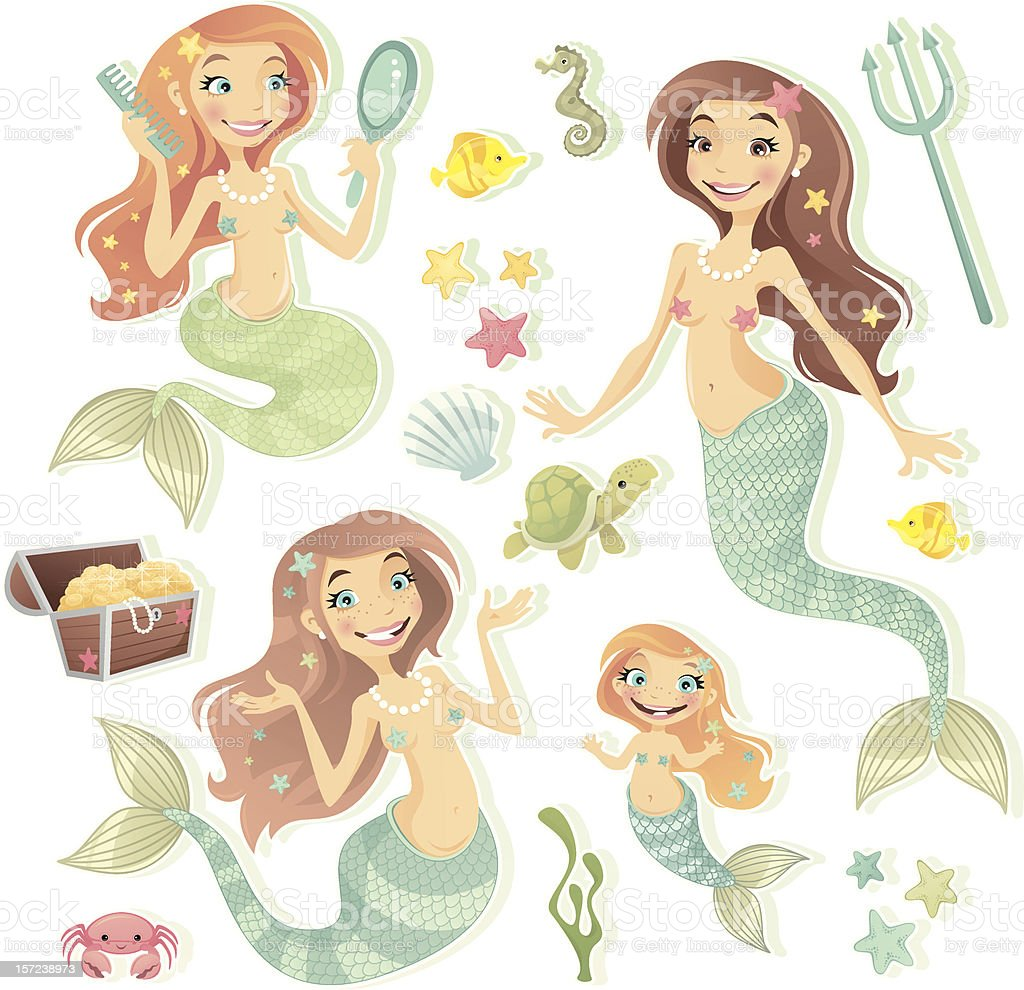 Sweet Mermaids royalty-free stock vector art