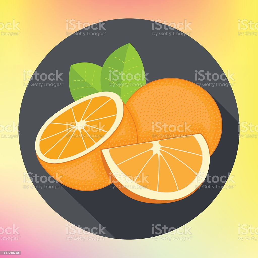 sweet oranges flat vector icon vector art illustration