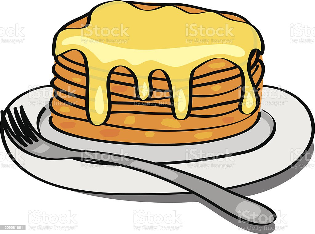 sweet pancakes with honey on the plate - vector vector art illustration