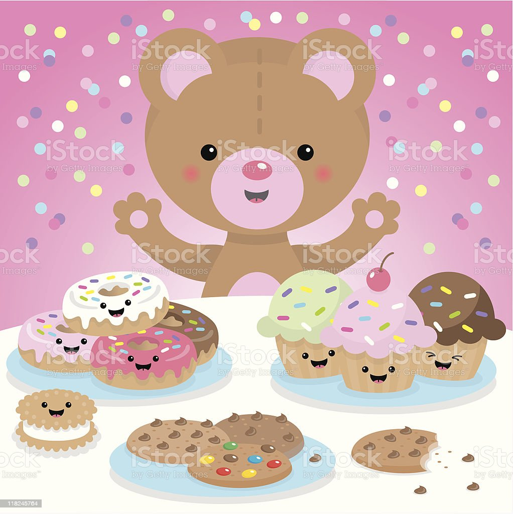 Sweet party kawaii bear royalty-free stock vector art