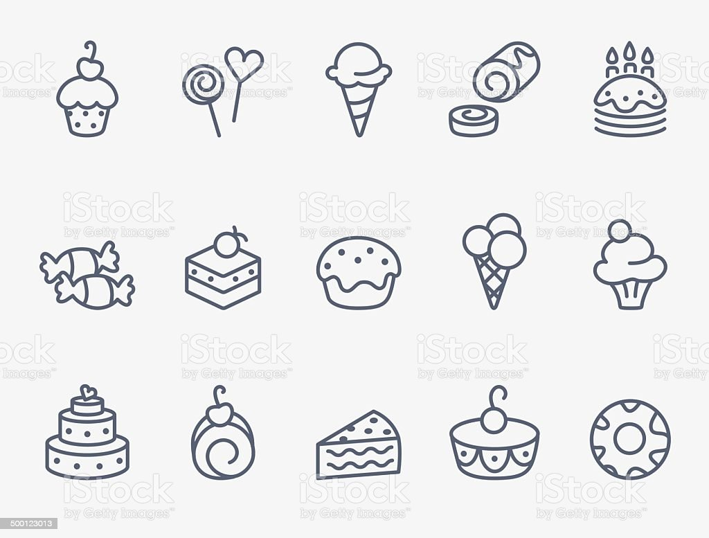Sweet pastry icons vector art illustration